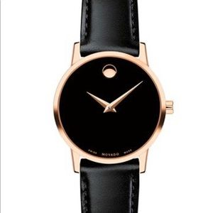 Movado women's black and rose gold watch
